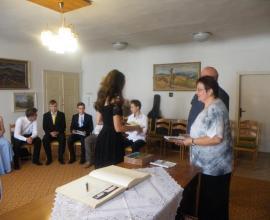 Rozloučení se žáky 9. ročníku na obecním úřadě